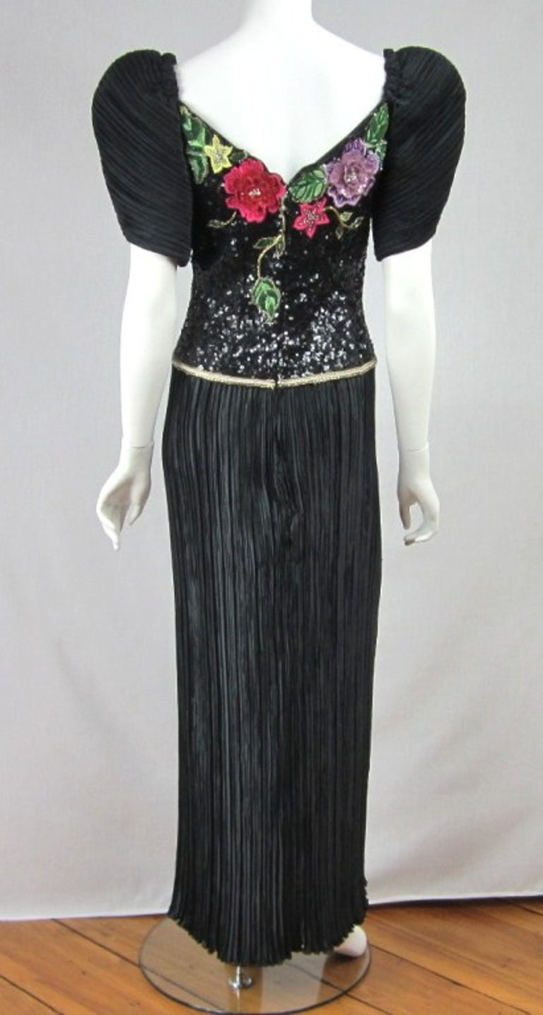 Richilene Black Floral Sequined Sculptured Gown 1990s For Sale 5