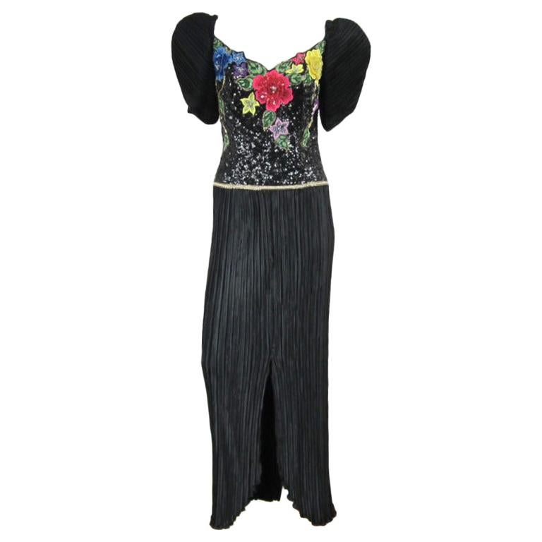 Richilene Black Floral Sequined Sculptured Gown 1990s For Sale
