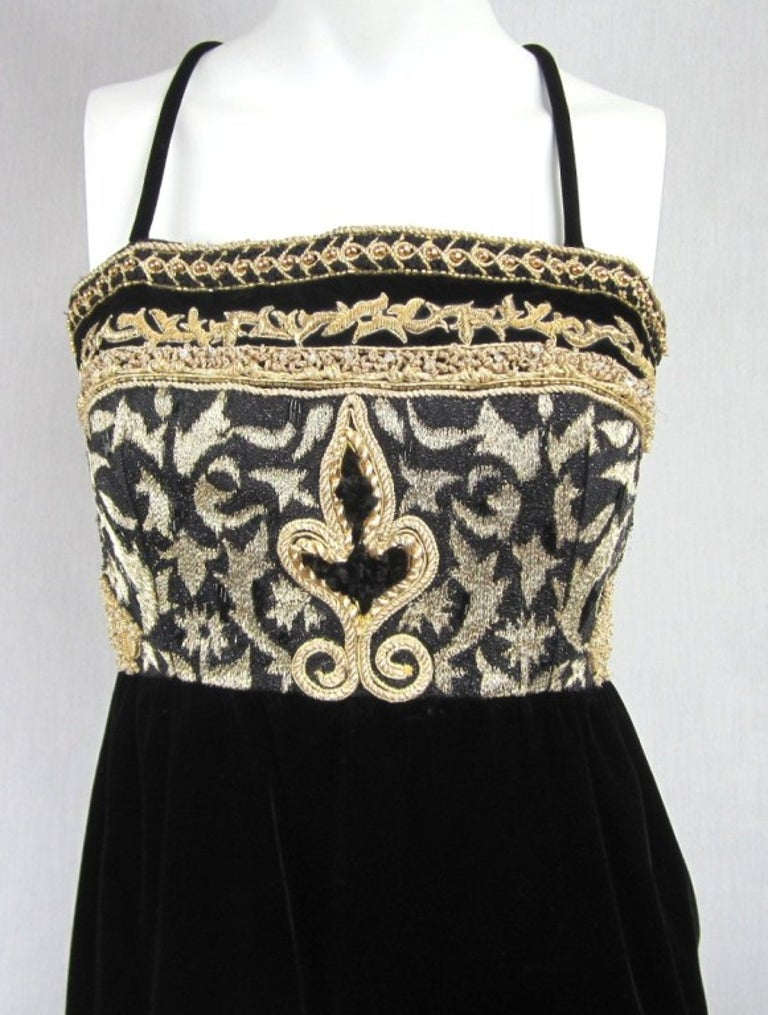 Women's  Richilene Black Gold Fleur De Lis Gown 1980s  For Sale