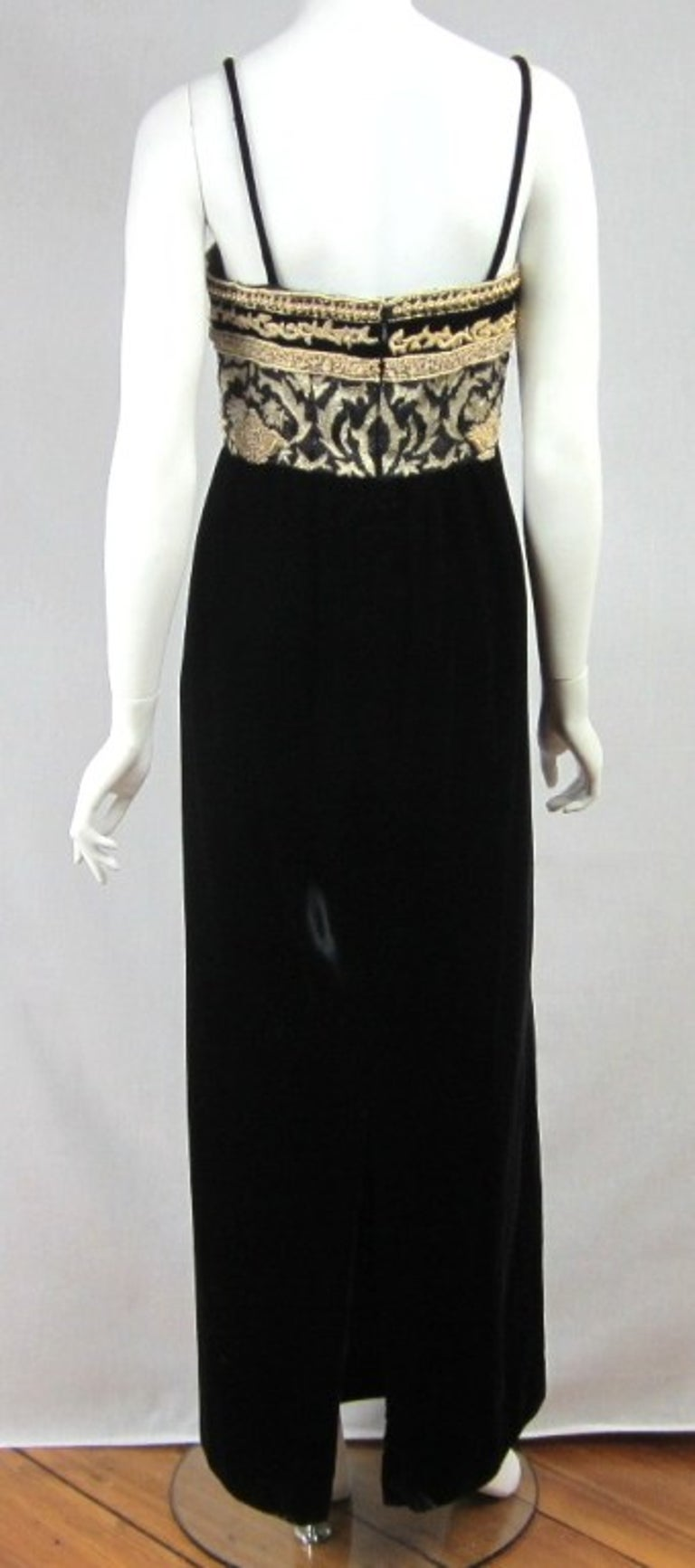 Richilene Black Gold Fleur De Lis Gown 1980s  For Sale 3