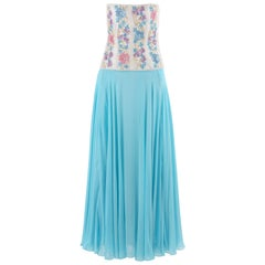 RICHILENE c.1980's Blue Silk Chiffon Floral Bead Embroidery Strapless Dress Gown