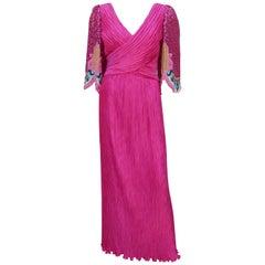 Richilene Fuchsia Micro Pleat Beaded Evening Dress, 1980's