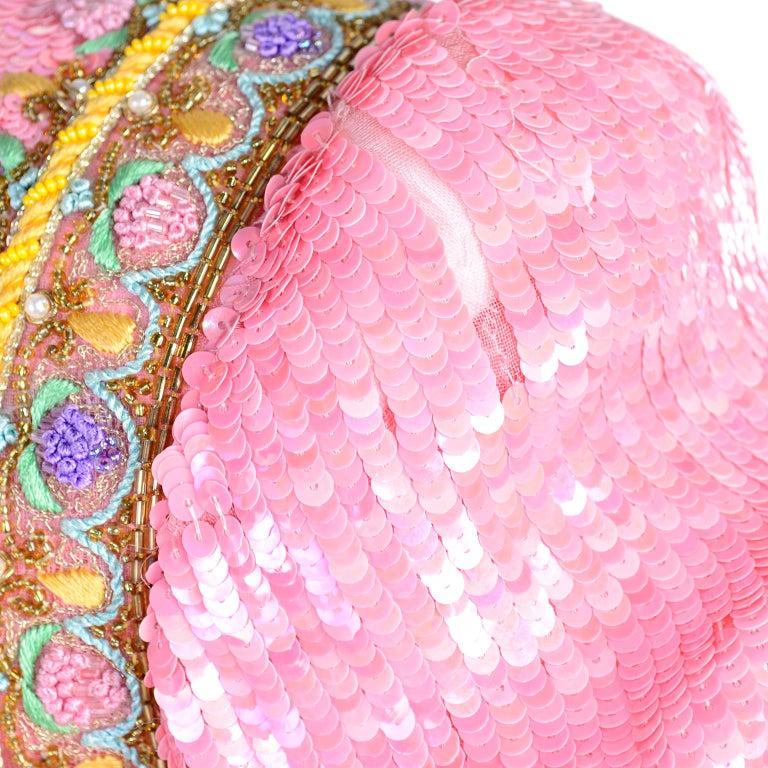 Richilene Pink Chiffon Vintage Dress w/ Beaded Sequined Bodice & Cropped Jacket For Sale 6