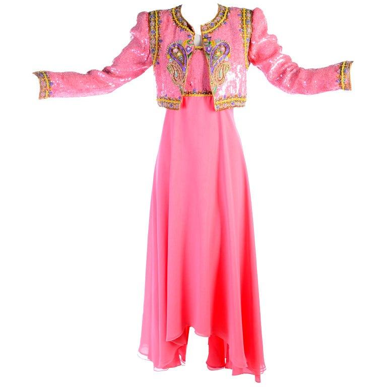 Richilene Pink Chiffon Vintage Dress w/ Beaded Sequined Bodice & Cropped Jacket For Sale 7