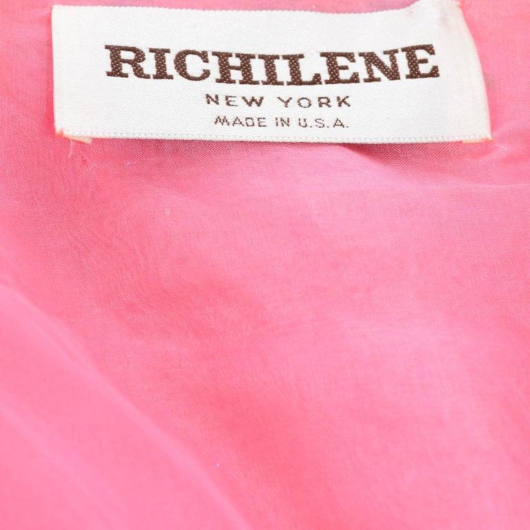Richilene Pink Chiffon Vintage Dress w/ Beaded Sequined Bodice & Cropped Jacket For Sale 8