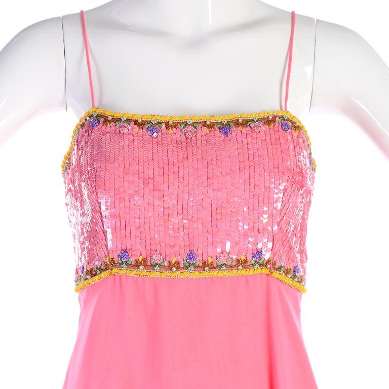 Richilene Pink Chiffon Vintage Dress w/ Beaded Sequined Bodice & Cropped Jacket For Sale 9