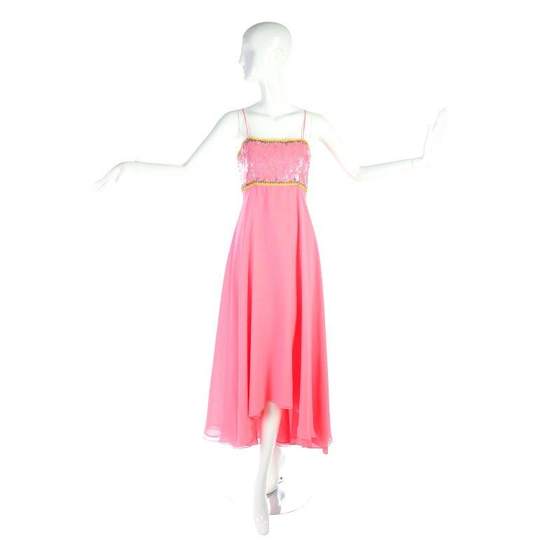 Richilene Pink Chiffon Vintage Dress w/ Beaded Sequined Bodice & Cropped Jacket For Sale 10