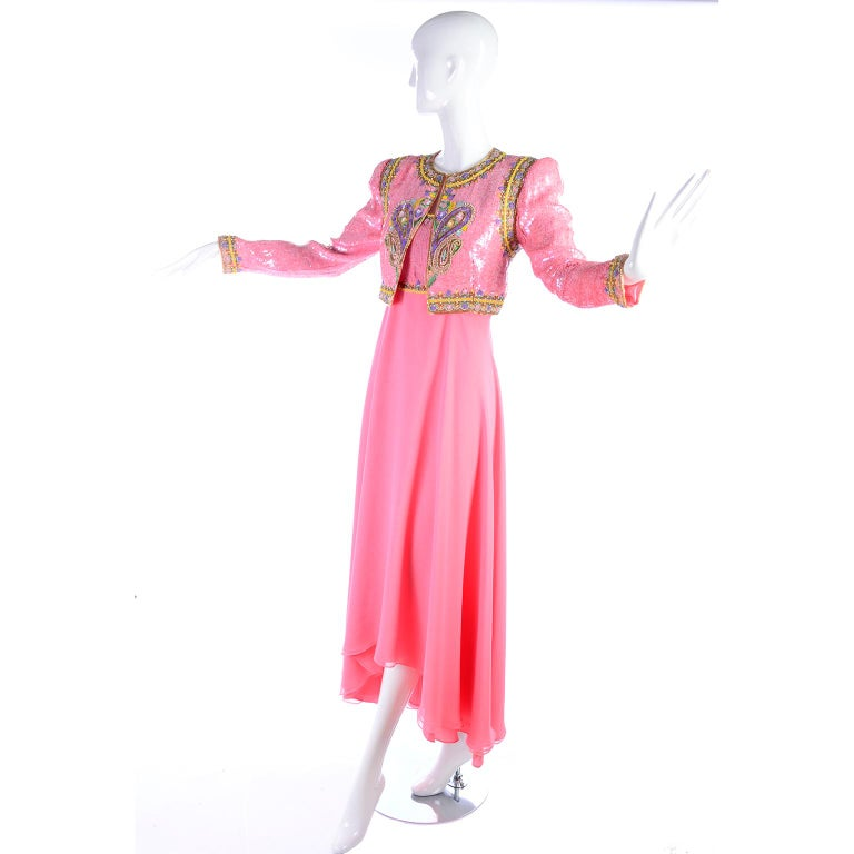 Richilene Pink Chiffon Vintage Dress w/ Beaded Sequined Bodice & Cropped Jacket In Good Condition For Sale In Portland, OR