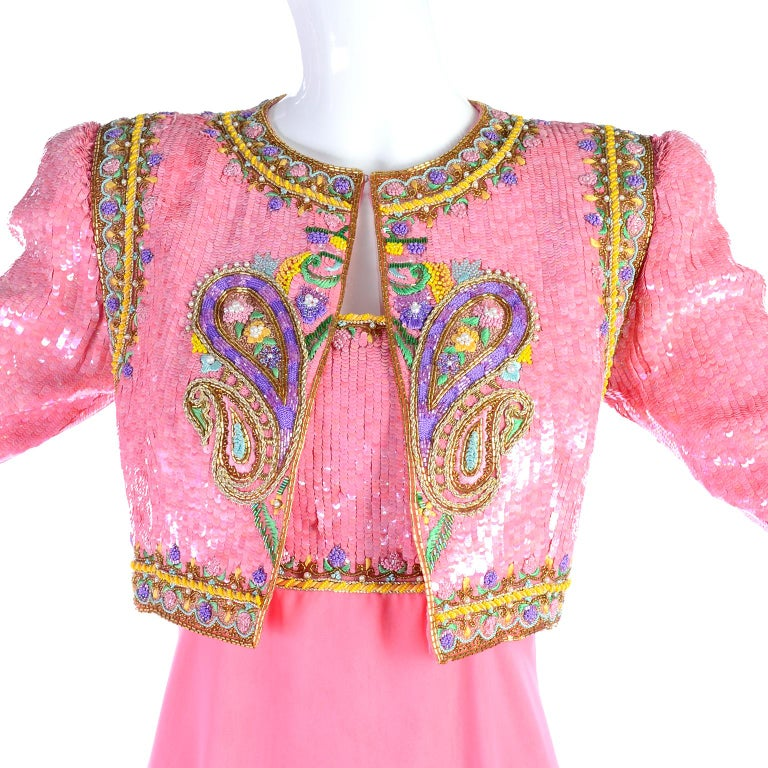 Women's Richilene Pink Chiffon Vintage Dress w/ Beaded Sequined Bodice & Cropped Jacket For Sale
