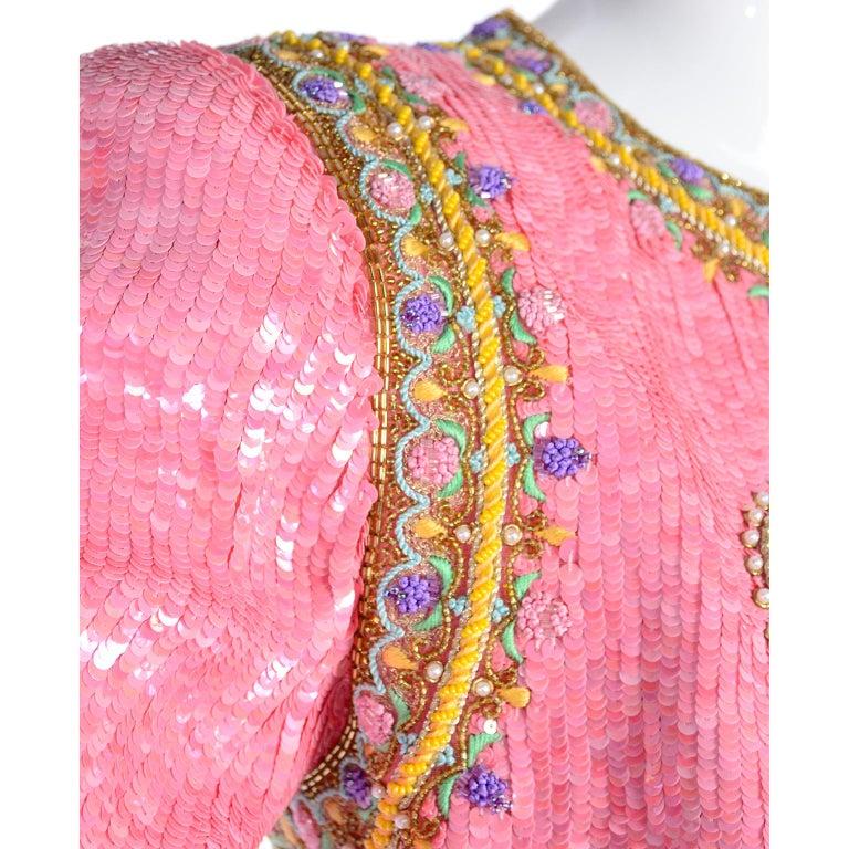 Richilene Pink Chiffon Vintage Dress w/ Beaded Sequined Bodice & Cropped Jacket For Sale 2