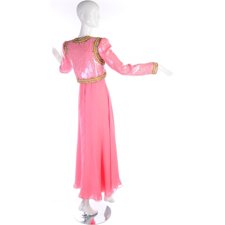 Richilene Pink Chiffon Vintage Dress w/ Beaded Sequined Bodice & Cropped Jacket For Sale 3
