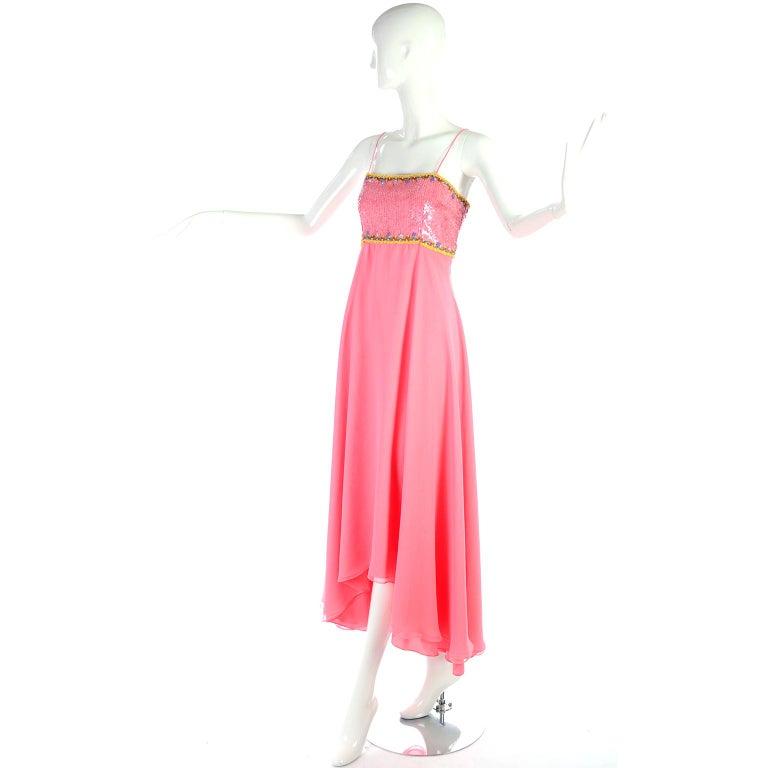 Richilene Pink Chiffon Vintage Dress w/ Beaded Sequined Bodice & Cropped Jacket For Sale 4