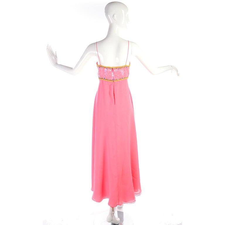 Richilene Pink Chiffon Vintage Dress w/ Beaded Sequined Bodice & Cropped Jacket For Sale 5