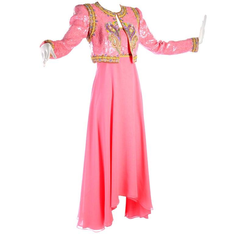 Richilene Pink Chiffon Vintage Dress w/ Beaded Sequined Bodice & Cropped Jacket For Sale