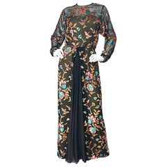 Richilene Size 12 / 14 Silk Chiffon Cut Velvet Vintage Long Sleeve Evening Gown