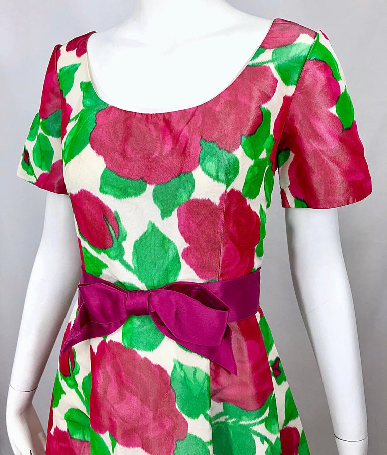 Pink Richilene Vintage Beautiful Silk Taffeta 3D Rose Print Short Sleeve Couture Gown For Sale