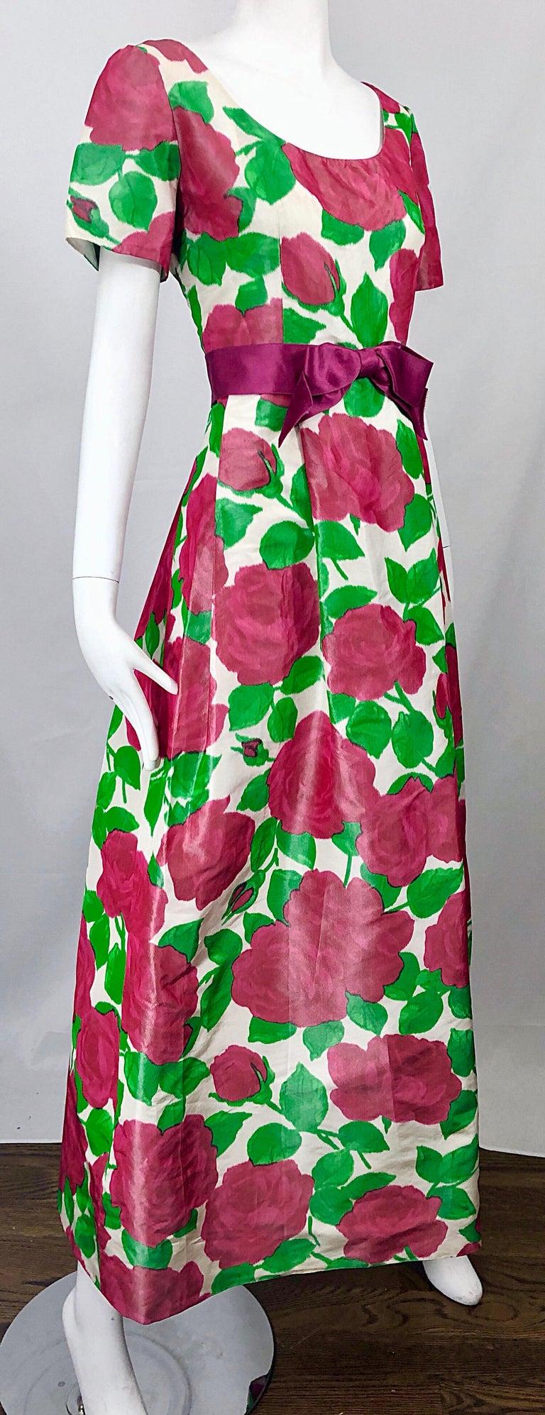 Richilene Vintage Beautiful Silk Taffeta 3D Rose Print Short Sleeve Couture Gown For Sale 1