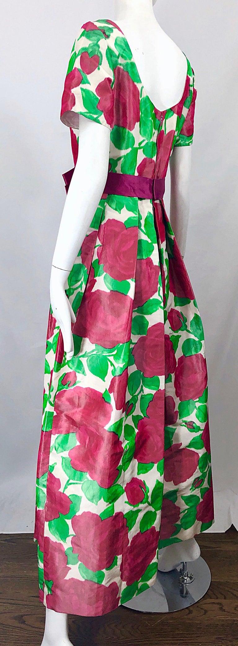 Richilene Vintage Beautiful Silk Taffeta 3D Rose Print Short Sleeve Couture Gown For Sale 2