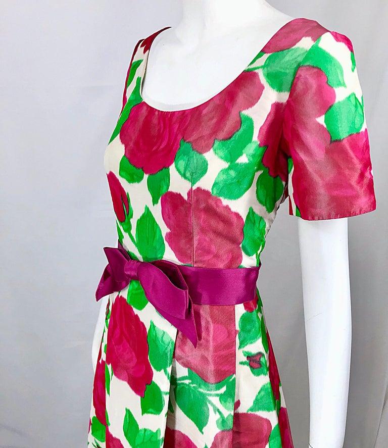 Richilene Vintage Beautiful Silk Taffeta 3D Rose Print Short Sleeve Couture Gown For Sale 3