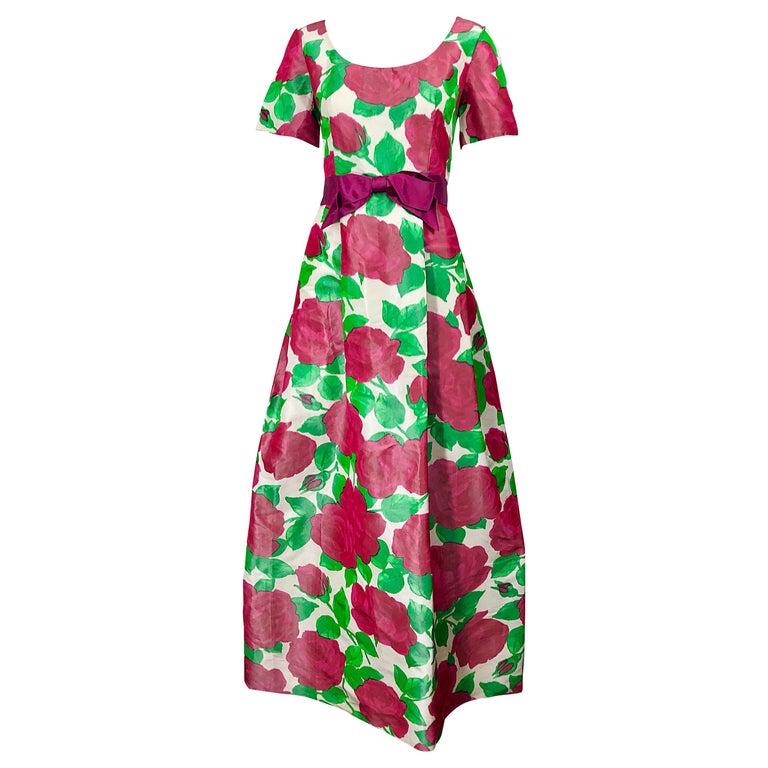 Richilene Vintage Beautiful Silk Taffeta 3D Rose Print Short Sleeve Couture Gown For Sale