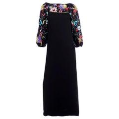 Richilene Vintage Black Evening Dress Multicolored Floral Beads & Sequins