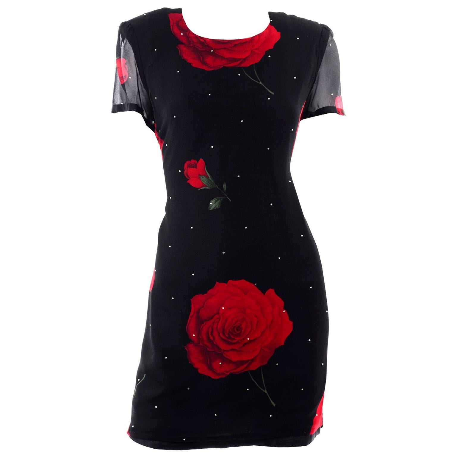 Richilene Vintage Black Silk Dress W/ Red Roses & Rhinestones