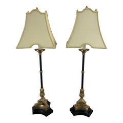 Richly Adorned Pair of Regency Style Black and Gold Table Lamps