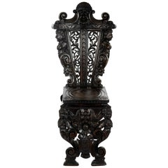 Richly Carved 19th Century Italian Sgabello Chair, circa 1870