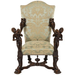 Richly Carved 19th Century Walnut Baroque Figural Throne Armchair