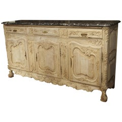 Richly Carved Antique French Enfilade in Stripped Oak with Black Marble Top