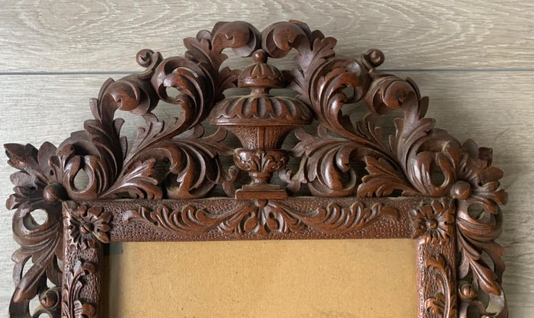 Hand-Carved Richly Carved Baroque Revival Italian Picture Frame with Scrolling Leaves & Vase For Sale