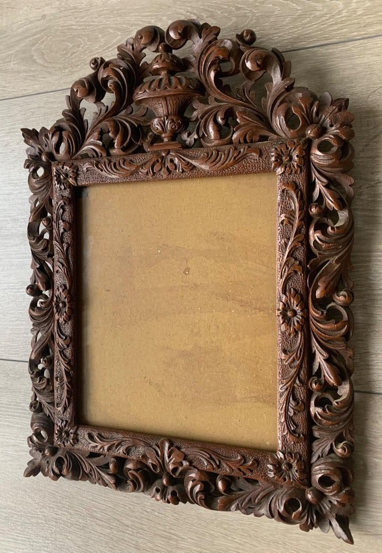 Wood Richly Carved Baroque Revival Italian Picture Frame with Scrolling Leaves & Vase For Sale