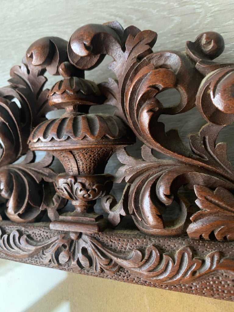 Richly Carved Baroque Revival Italian Picture Frame with Scrolling Leaves & Vase For Sale 1