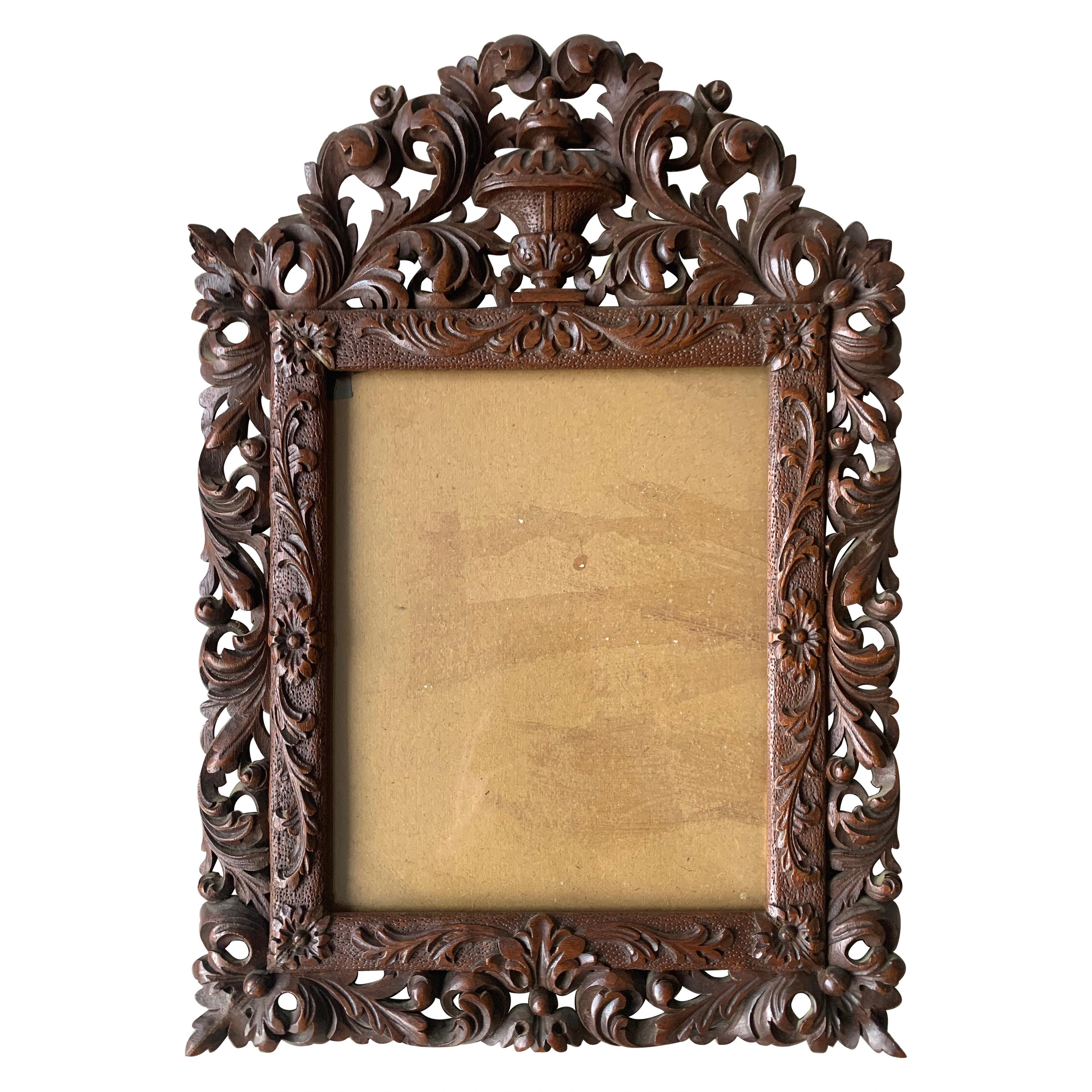 Richly Carved Baroque Revival Italian Picture Frame with Scrolling Leaves & Vase