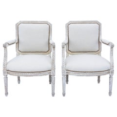 Richly Carved Pair of 19th Century French Fauteuils