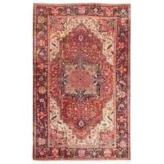 Richly Colored Large Antique Persian Heriz-Serapi Carpet with Geometric Design
