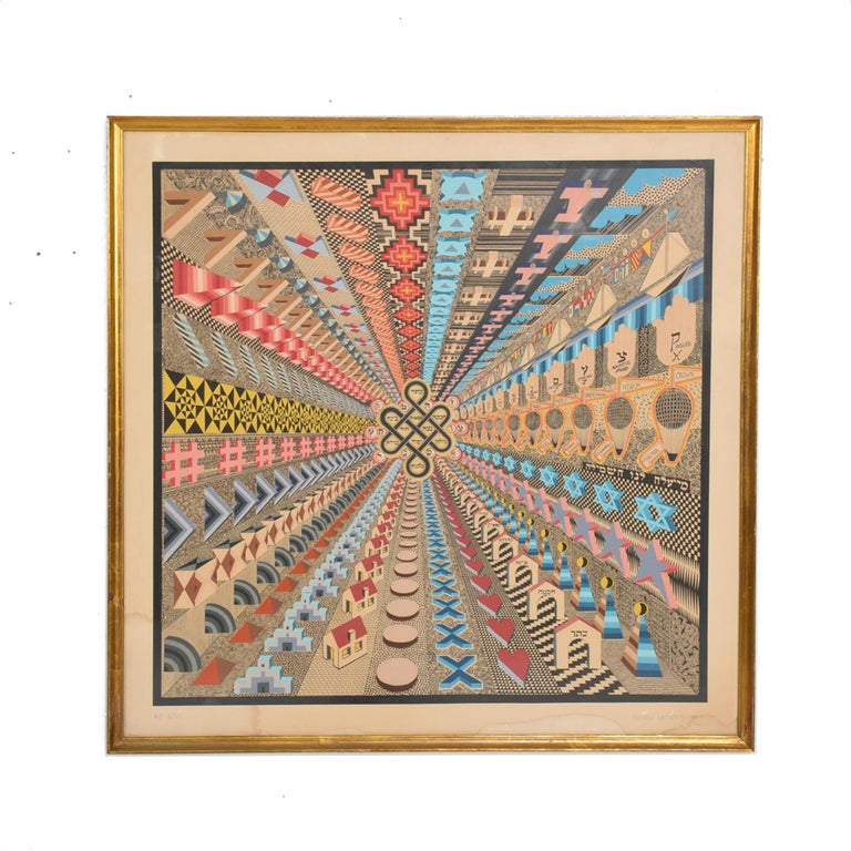Vintage Modern Abstract Op Art Lithograph by Pedro Friedeberg A P 6/10 Midcentury MEXICO 1970s Bright colors and Bold patterns offering up illusions and fantasy. Original Wood Frame with Gold Leaf. Signed in pencil. Original Vintage Condition