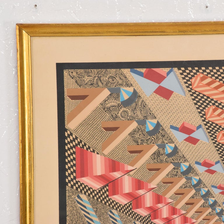 Mexican Richly Detailed Op Art Lithograph by Pedro Friedeberg Bold Modern Mexico 1970s For Sale