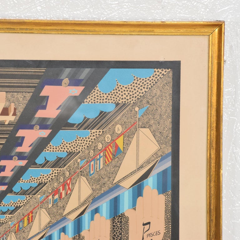 Richly Detailed Op Art Lithograph by Pedro Friedeberg Bold Modern Mexico 1970s In Good Condition For Sale In National City, CA