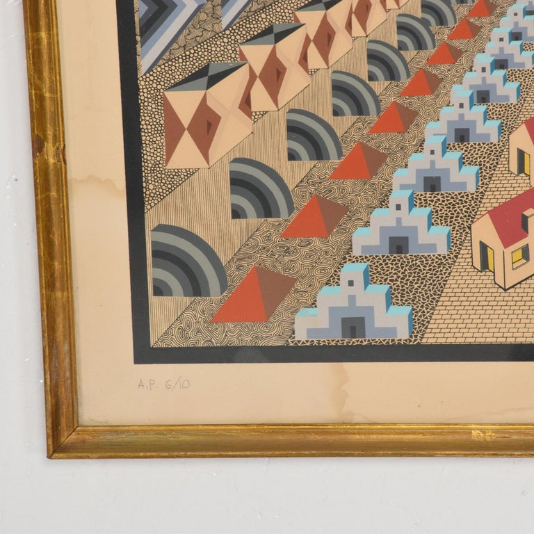 Late 20th Century Richly Detailed Op Art Lithograph by Pedro Friedeberg Bold Modern Mexico 1970s For Sale