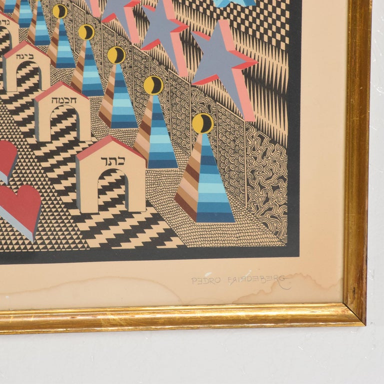 Glass Richly Detailed Op Art Lithograph by Pedro Friedeberg Bold Modern Mexico 1970s For Sale