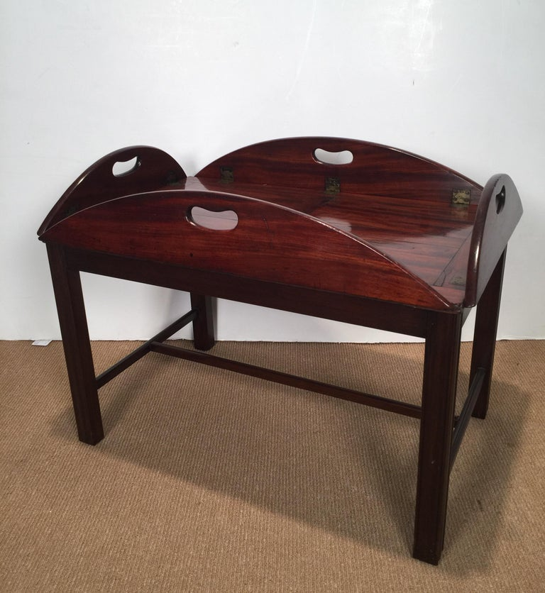 Richly Figured Mahogany Warm Patina Antique Butlers Tray on a Later Base 5