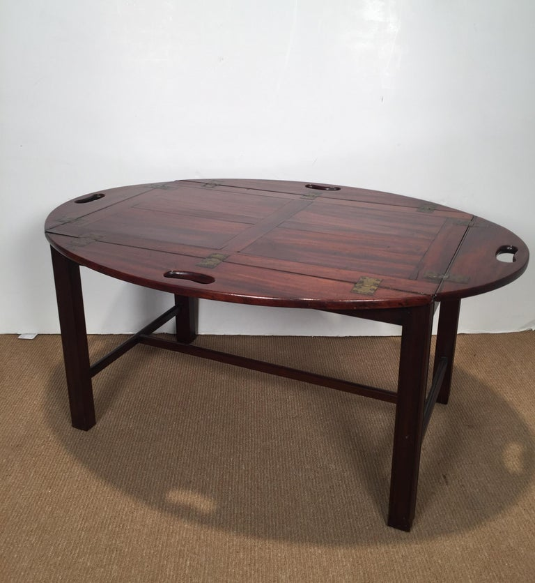 Richly Figured Mahogany Warm Patina Antique Butlers Tray on a Later Base 6