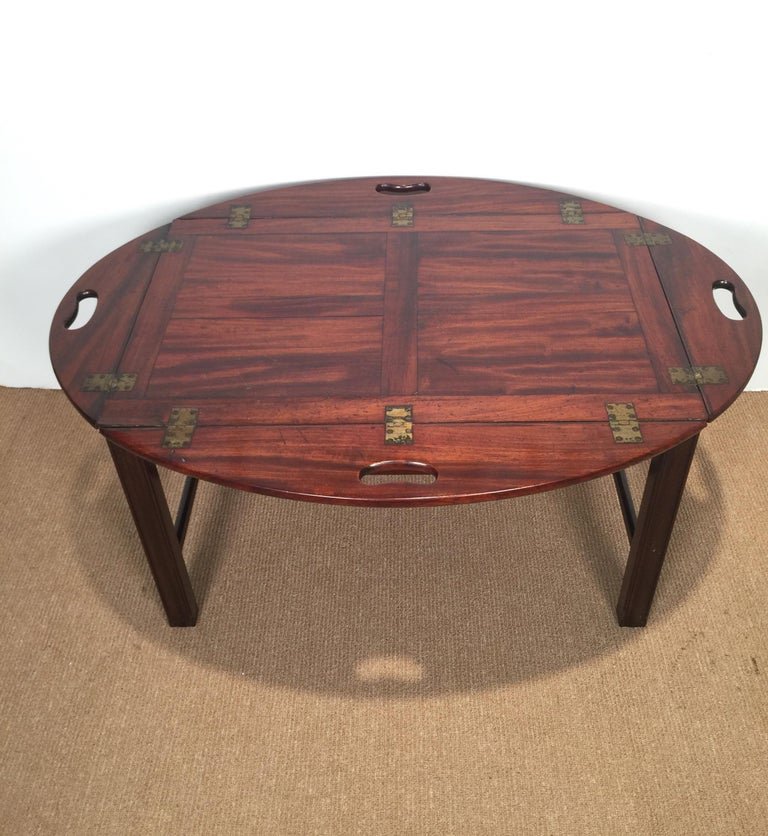 American Richly Figured Mahogany Warm Patina Antique Butlers Tray on a Later Base