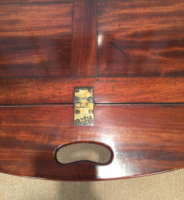 Richly Figured Mahogany Warm Patina Antique Butlers Tray on a Later Base 1