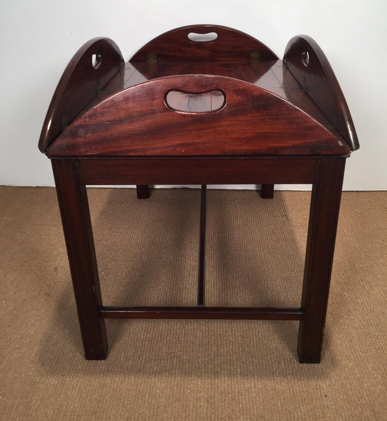 Richly Figured Mahogany Warm Patina Antique Butlers Tray on a Later Base 3