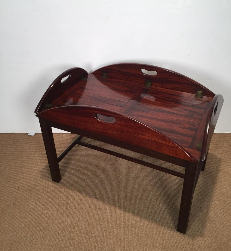 Richly Figured Mahogany Warm Patina Antique Butlers Tray on a Later Base 4