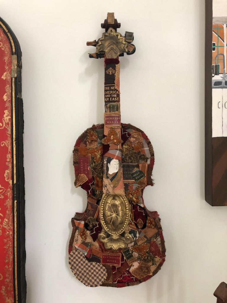 Richly Layered Collage Sculpture on Antique Violin Wall Sculpture For Sale 4