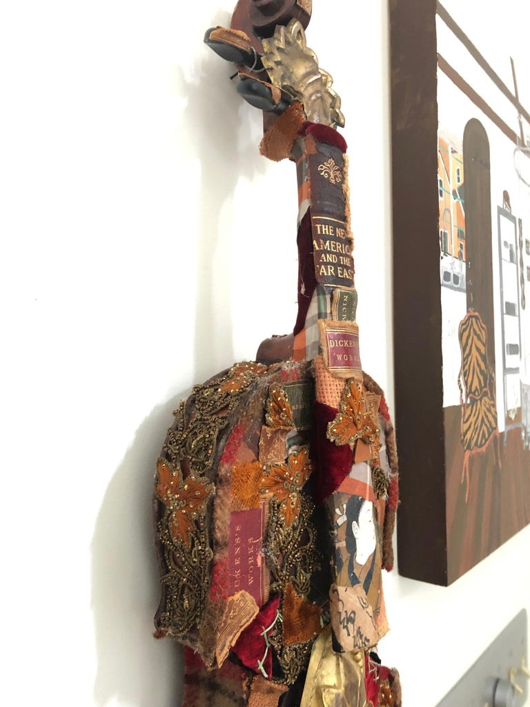 Contemporary Richly Layered Collage Sculpture on Antique Violin Wall Sculpture For Sale
