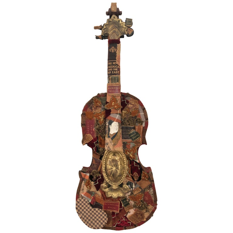 Richly Layered Collage Sculpture on Antique Violin Wall Sculpture For Sale